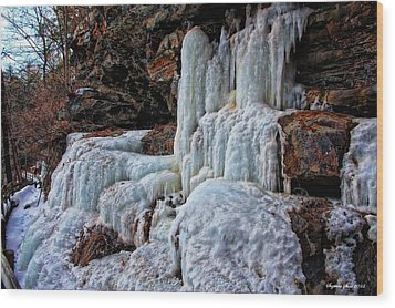 Frozen Waterfall Wood Print by Suzanne Stout