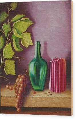 Fruit And Candle Wood Print by Gene Gregory