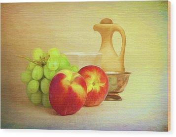 Fruit And Dishware Still Life Wood Print