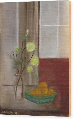 Fruit And Flowers Wood Print