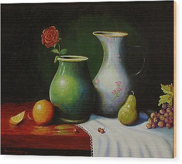 Wood Print featuring the painting Fruit And Pots. by Gene Gregory