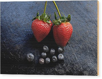 Fruit And Slate Wood Print by Jon Daly