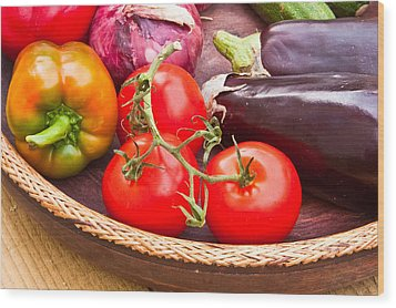 Fruit And Vegetables Wood Print