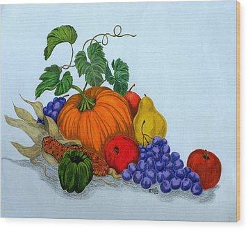 Fruit And Veggies Wood Print by Terri Mills