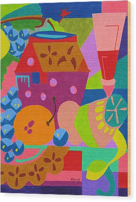 Fruit And Wine Wood Print by Molly Williams