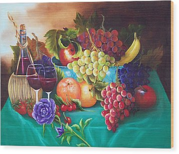Fruit And Wine On Green Cloth Wood Print by Joni McPherson