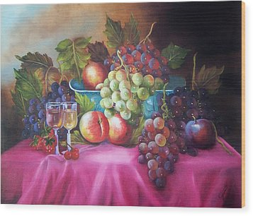Fruit And Wine On Mauve Cloth Wood Print