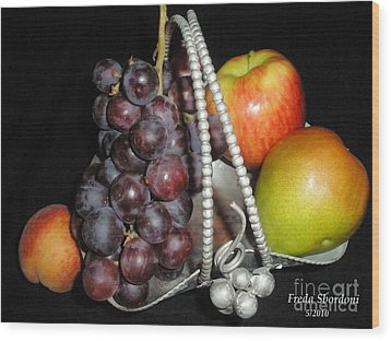 Fruit Basket II Wood Print by Freda Sbordoni