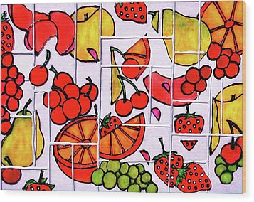 Fruit Fractals Wood Print by Farah Faizal