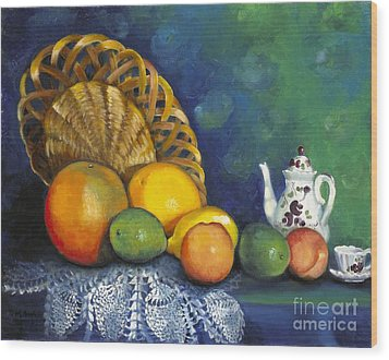 Fruit On Doily Wood Print by Marlene Book