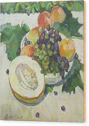 Fruit On Grape Leaves Wood Print by Juliya Zhukova