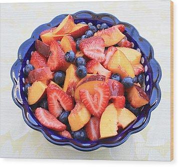 Fruit Salad In Blue Bowl Wood Print by Carol Groenen