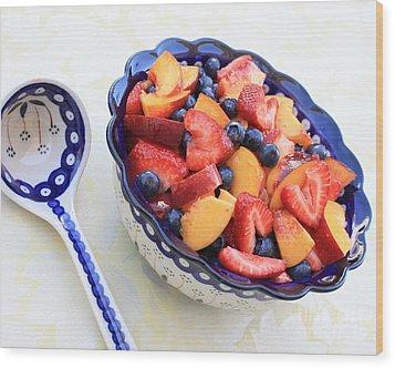 Fruit Salad With Spoon Wood Print by Carol Groenen