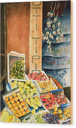 Fruit Shop In San Gimignano Wood Print by Judy Swerlick