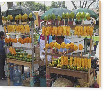 Fruit Stand Antigua  Guatemala Wood Print by Kurt Van Wagner