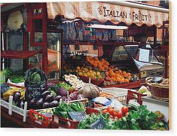 Fruit Stand Wood Print by Warren Home Decor