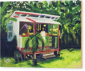 Fruit Stand North Shore Oahu Hawaii #163 Wood Print by Donald k Hall