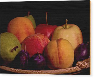 Fruit Still Life Wood Print by Marion McCristall