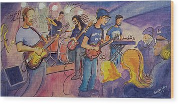 Wood Print featuring the painting Fruition At The Barkley Ballroom by David Sockrider