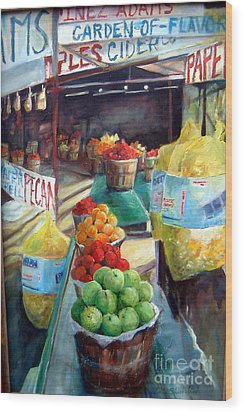 Fruitstand Rhythms Wood Print