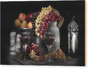 Fruity Wine Still Life Selective Coloring Wood Print by Tom Mc Nemar