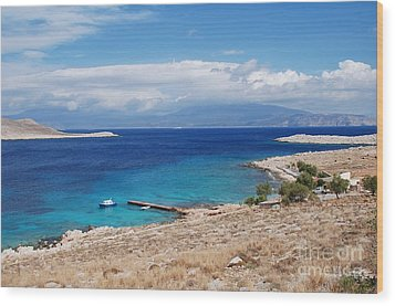 Ftenagia Beach On Halki Wood Print