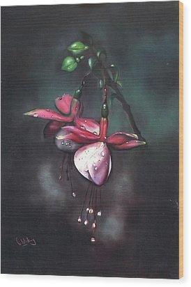 Fuchsia And Dew  Wood Print