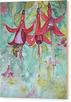 Wood Print featuring the painting  Fuchsia by Jasna Dragun