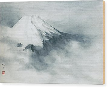 Fuji - Fresh Snow Wood Print by Suiko Sakurai