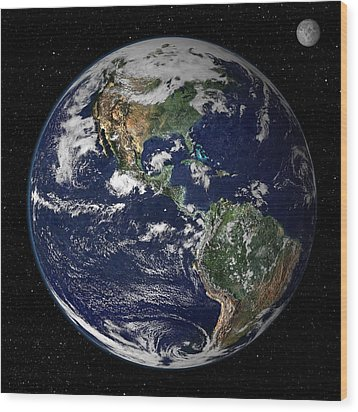 Full Earth Showing North And South Wood Print by Stocktrek Images