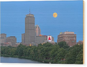 Full Moon Across Boston Skyline Wood Print by Juergen Roth