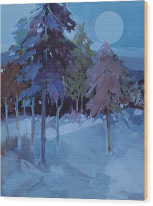 Wood Print featuring the painting Full Moon And Pines by Diane Ursin