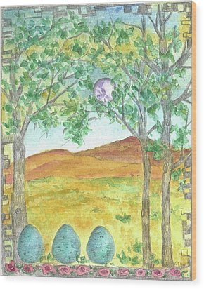 Wood Print featuring the drawing Full Moon And Robin Eggs by Cathie Richardson