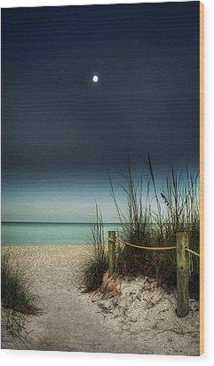 Full Moon Beach Wood Print by Greg Mimbs
