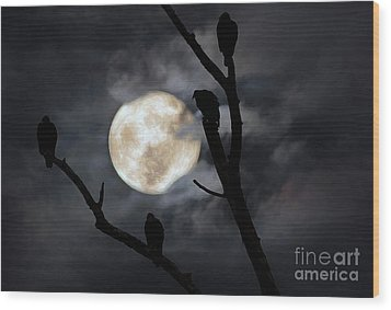 Wood Print featuring the photograph Full Moon Committee by Darren Fisher