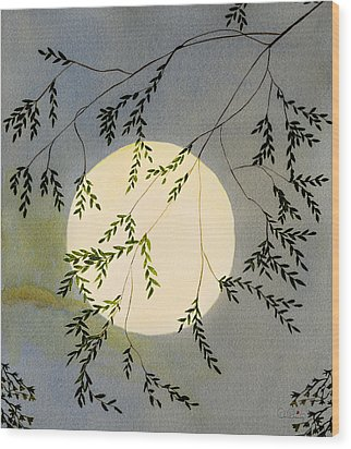 Moon And Tree Branch Painting Wood Print