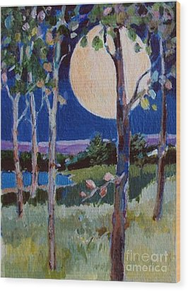 Wood Print featuring the painting Full Moon by Diane Ursin