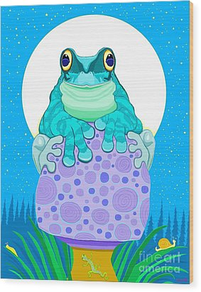 Wood Print featuring the digital art Full Moon Froggy  by Nick Gustafson