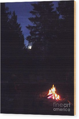 Full Moon Jamming Wood Print by JoAnn SkyWatcher