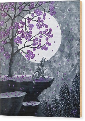 Wood Print featuring the painting Full Moon Magic by Teresa Wing