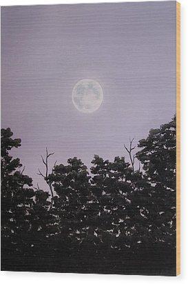 Full Moon On A Summer Evening Wood Print by Anna Bronwyn Foley