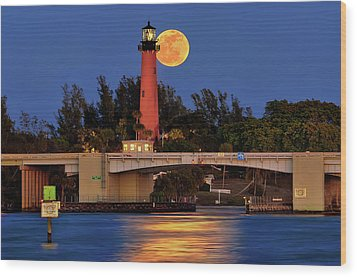 Full Moon Over Jupiter Lighthouse, Florida Wood Print