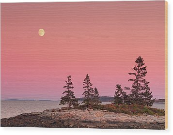 Wood Print featuring the photograph Full Moon Over Maine  by Emmanuel Panagiotakis
