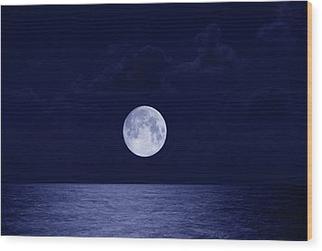 Full Moon Over Ocean, Night Wood Print by Buena Vista Images