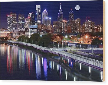 Full Moon Over Philly Wood Print