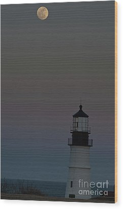 Full Moon Over Portland Headlight. Wood Print