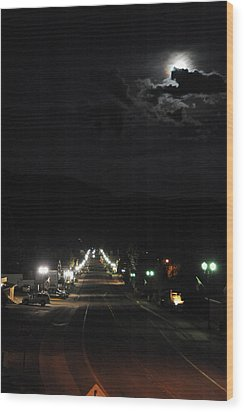 Full Moon Over Red River Wood Print