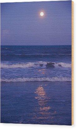 Full Moon Over The Ocean Wood Print by Susanne Van Hulst