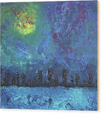 Full Moon Over Watercity Wood Print by Erik Tanghe