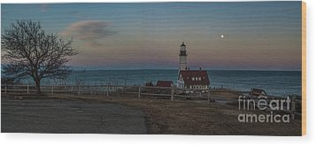 Full Moon Panorama Over Portland Headlight Wood Print